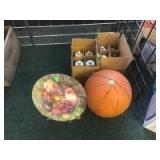 Plate, Basketball, and candle holders