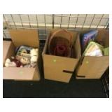 3 Boxes of misc, bears, linens, baskets and more