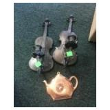2 Wall mounted candle holders and a copper thermometer
