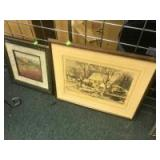 2- Landscape Prints, both nicely framed and matted, the larger one is 21 inches wide