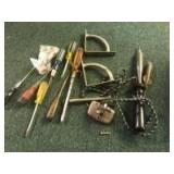 Lot of hand tools includes an old soldering iron
