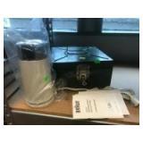 Braun food processor, and a metal keepsake box
