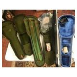 3- vintage violin or fiddle cases, with a few bows