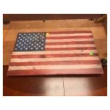 Wooden Plaque Painted as the American Flag, 24 x 15 inches