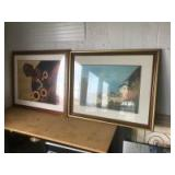 2 Framed and Matted Wall Prints, one on the right is 27 x 33 inches