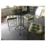 "Wrought Iron ""high top"" patio set with 3 matching chairs"