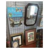 Mirror and collection of wall decor