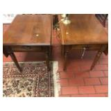 Set of matching Ethan Allen end tables, with dovetailed drawers and drop-leaf sides