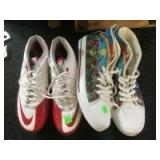 2 pair of shoes colorful pair is size 14, cleats are size 10.5