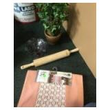 Faux Potted plant, Table Runner, Rolling pin, and Glass Fenton like dish