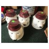 4 matching Bear Cookie Jars