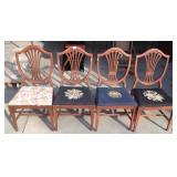 Shield Back Mahogany Needle Point Chairs