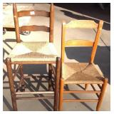 Two Ladder Back Rush Seat Chairs