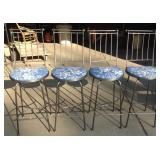 Set of Four Metal Swivel Bistro Chairs