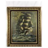 Framed Original Oil on Canvas Ship Art