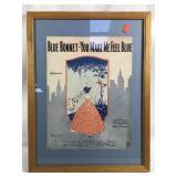 Framed 1920s Blue Bonnet Sheet Music