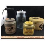 Collection of Vintage Tins & Glass Jar