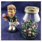 NFL Dan Marino Bobble Head Plus Marbles