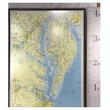 Large 4 x 3 ft. Framed Map of the Chesapeake Bay