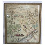 Vintage Embroidered Artwork Framed
