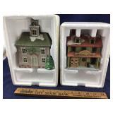 Vintage Boxed Pair of Porcelain Village Buildings