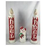 Pair Plastic Christmas Noel Candle + Snowman Molds