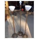 Three vintage floor lamps