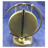 Brass Gong with Wooden Mallet from 1950