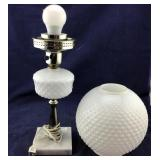 Milkglass-Type and Metal Lamp With Marble Base