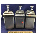 3 Large Vintage Soda Fountain Syrup Dispensers