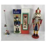 3 Vintage Nutcrackers and Christmas Decoration