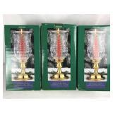 3 Christmas Crystal Tree Hurricane Lamps