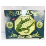 Metal Blue Label Early Sweet Corn Sign
