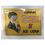 Metal Cherry Sparkle Soda Sign