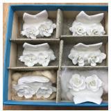 6 White Bone China Coalport Name Card Holders