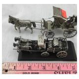 Two Miniature White Metal Horse Drawn Wagons