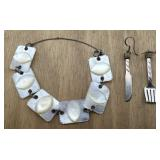 Knife & Fork Earrings and Mother of Pearl Item