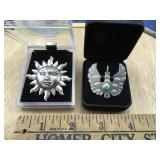 Sterling Sun Pin and Sterling Southwest Bird Pin