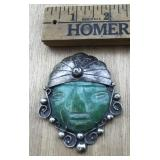 Large Silver Pin With Green Stone Face