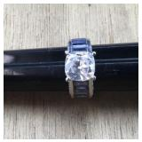 Sterling Ring With Purple and Clear CZ