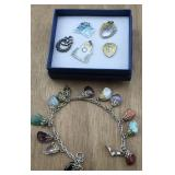 Sterling Stone Bracelet and Sterling Charms