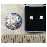 Sterling Pin Showing Llama Plus Diamonique Studs