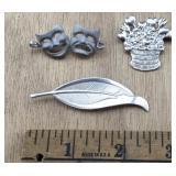 3 Vintage Sterling Pins