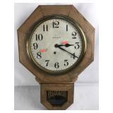 Ingraham Regulator Clock with Pendulum and Key