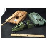 3 Military Toy Vehicles, 2 Marked GI Joe