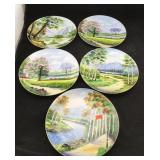 5 Hand Painted Dishes from Japan