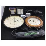 8 Clocks/Alarm Clocks & a Power Strip