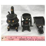 Miniature Cast Iron Stove, Grinder, Wheelbarrow