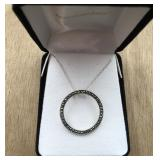 Sterling Silver Circle Necklace With Stones