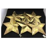 6 Gold Painted Wood Star Ornaments
